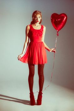 Red Dress - Red Heart Balloon - Studio Photography