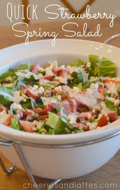 Everyone needs a quick and easy salad {but oh so delicious} that they can throw together on a whim right!? Quick Strawberry Spring Salad is just that! Recently a good friend brought this salad to o...