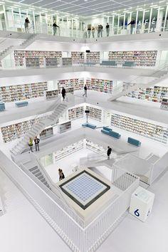 Modern library in Stuttgart - wow it looks SO clean!