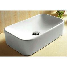 "Nameeks Ceramica 4.5-in D White Rectangular Vessel Sink Item #: 432305 |  Model #: CARACALLA CA4120-0.  Lowes 12""-20.8"" L. $182."