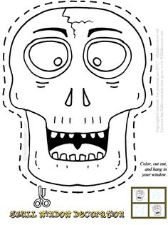 skull window decoration coloring page printout more halloween fun at imhalloween