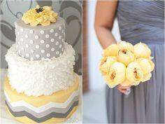gray and yellow polka dot and chevron wedding cake, yellow peony bouquet against gray bridesmaid dress, 50 Shades of Grey Wedding Ideas