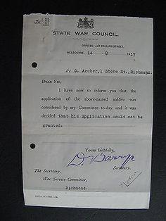 WW1 ANZAC SERVICEMAN  G Archer 1 Shore St Richmond