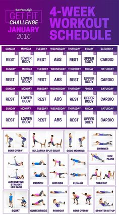 Challenge Will Get You To Actually Start Working Out Just four workouts a week — no gym membership or equipment needed.Just four workouts a week — no gym membership or equipment needed. Sports Challenge, 28 Day Challenge, Workout Challenge, Workout Log, Fat Workout, Workout Tips, 4 Week Workout, Thigh Challenge, Plank Challenge