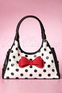 50s Hanna Polka Dot Handbag in Black and White