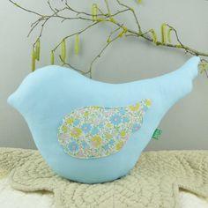 Bird shaped pillow  Pastel blue throw pillow  Japanese by MushyP