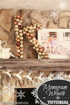 cute! monogram instead of plain circle wreath - made with ornaments