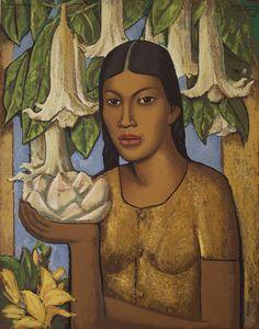 'La India de los Floripondios' by Mexican painter Alfredo Ramos Martinez (1872-1946). Silkscreen, 30 x 24 in. via Frazer Fine Arts