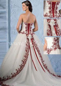Hot Sale Sweet Wedding Dress with Red Motif Design and Classic Basque Waistline, Vintage Wedding Dresses - Vicyc.com