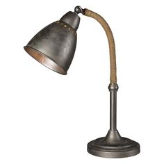 50% Off Gage Aged Metal and Jute One Light Desk Lamp by Forty West. @ This industrial style task lamp adds just the right amount of character to any space. Gage features a jute wrapped neck and aged metal like finish that is sure to compliment your office. @ All California Lamp purchases will