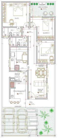 Projeto de casa térrea de 3 quartos com 90,81m²