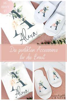 Für deinen großen Tag haben wir die perfekten Accessoires, z.B. unseren wunderschönen personalisierten Morgenmantel und passenden Slippern. Die perfekten Accessoires für dein Getting Ready an deinem Hochzeitstag.