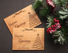 Wood Christmas Cards, Personalized Christmas Card by TriElegance. #christmas, #woodworking, #woodcards, #postcard, #etsy, #handmade