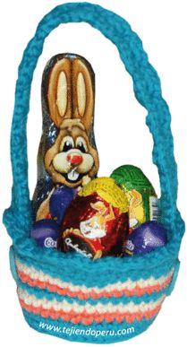 Tutorial: canasta de colores para regalar huevos de chocolate tejida en crochet (amigurumi)!