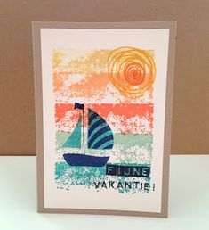 handmade card from Marits blog: Stampin' Up! Swirly Bird Boat ... luv the artistic stamped background in lines of bright oranges and blues ...