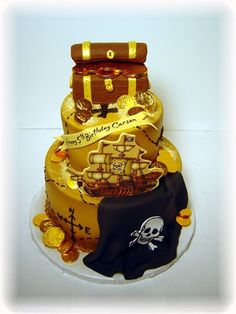 ** treasure chest made of rice krispies covered in fondant, cake iced in buttercream then airbrushed, chocolate coins, icing image ship.
