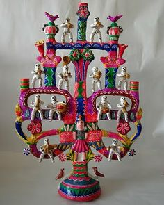 Mexican Tree of Life Mexican Artists, Mexican Folk Art, Estilo Folk, Arte Latina, Latino Art, Tree Of Life Art, Mexican Ceramics, Mexican Crafts, Day Of The Dead Art