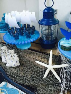 Blueberry sailboats at a whale birthday party! See more party ideas at CatchMyParty.com!