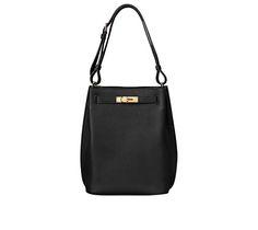 """So-Kelly Hermes bag in black togo calfskin Measures 8.5"""" x 12"""" x 4.5"""" Zip front pocket, flat back pocket, adjustable strap Gold plated hardware"""