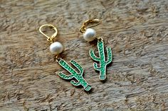 Cactus Earrings, Fun Earrings, Gift for Her, Summer Jewelry, Statement Earrings, Unique Gift, Cactus Jewelry, Green Earrings, Boho Earrings