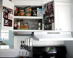 Family photos behind cupboard doors make chores a little more pleasant. You can create a theme for each cupboard.