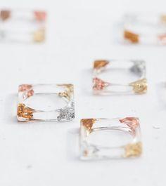 Carré de résine d'empilage anneau moderne transparente anneau