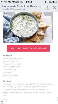 Homemade Tzatziki from Kayla Itsines