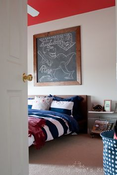 Amazing boy's room makeover.  Lots of fun details!