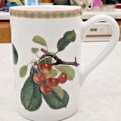Hallmark Fruit Mug Images Courtesy Of Linda Hall Library Porcelain Vintage Coffee Cups, Unique Coffee Mugs, Coffee Mug Sets, Mugs Set, Gold Backdrop, Birthday Coffee, Christmas Coffee, Cat Mug, Mug Cup