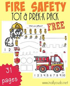 Fire Safety is important ALL Year Long. Little ones need to know the dangers too! These fun Emergent Readers & Tot/PreK-K Pack will do just that! Fire Safety Crafts, Fire Safety Week, Preschool Fire Safety, Kids Safety, Numbers Preschool, Preschool Printables, Preschool Learning, Kindergarten Worksheets, Safety Tips