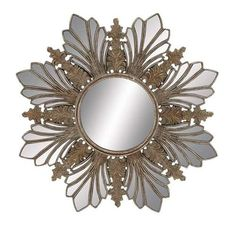 **Out of stock as of 9/6/16 Art Deco Inspired Polystone Bronze Accent Leaf Design Wall Mirror, inner mirror framed by bronze tone textured and faceted mirrored embellishments, on wood frame Dimensions