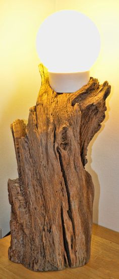 Tall Solid Oak Driftwood Log Lamp by CornishCreationsUK on Etsy, £69.99