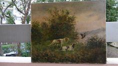 Peinture ancienne sur toile signé G.MALLËT? à identiefier chasse,pêche à voir!