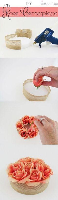 DIY Rose Centerpiece / http://www.himisspuff.com/diy-wedding-centerpieces-on-a-budget/24/