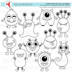 Monsters Digital Stamps - cute outlines, lineart, stamps, monster line art - personal use, small com Doodle Monster, Monster Drawing, Cute Monsters Drawings, How To Draw Monsters, Doodles, Digi Stamps, Drawing For Kids, Art Plastique, Easy Drawings
