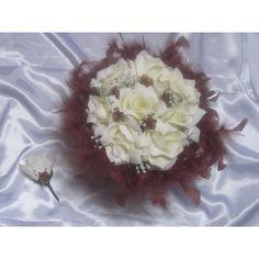 Floral Wreath, Wreaths, Ivoire, Bordeaux, Decor, Chocolate Color, Artificial Flowers, Wedding Bouquet, Feathers