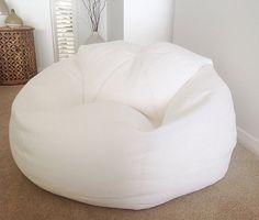 Bean Bag Linen Designer Bean Bag, White Linen, Pale Blue, Aqua, Navy, Adults Bean Bag Cover, Teenagers Bean Bag by MyBeachsideStyle on Etsy
