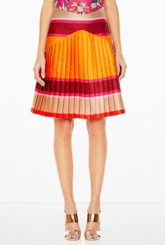 Pleated Striped Skirt by Ostwald Helgason