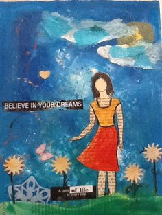 Mixed media she-art girl on canvas