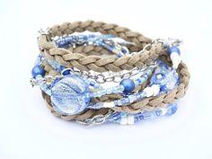 LEATHER BRACELET Boho Style Blue & Tan Multi Strand Beaded Leather Wrap Mother's Day Gift Feminine Bracelet Denim Wear Accessories Gift Wrap
