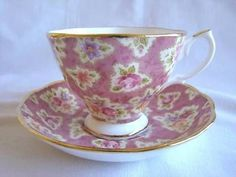 Lovely-2003-Royal-Albert-Cup-Saucer-Vintage-Florals-Grape-Chintz-Pattern