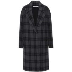 Vince Wool-Blend Plaid Coat ($1,145) ❤ liked on Polyvore featuring outerwear, coats, grey, plaid coat, tartan coats, grey coat, gray coat and wool blend coat