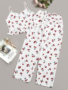 To find out about the Cherry Print Cami Top & Pants PJ Set at SHEIN, part of our latest Pajama Sets ready to shop online today! Cute Pajama Sets, Cute Pjs, Cute Pajamas, Girls Fashion Clothes, Teen Fashion Outfits, Look Fashion, Girl Outfits, Steampunk Fashion, Gothic Fashion