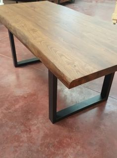 Tavolo noce caldo da cucina in legno massiccio 150x80x75 design italiano