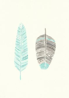 Aqua and Grey Feather Watercolour Original by FeatherAndSixpence