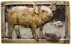 Barnyard animal relief hand painted ceramic tiles, horse tiles, mule tile, donkey tile, rooster tile, pig tiles, chicken tiles handcrafted, handmade relief animal art tiles