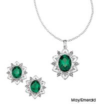 "Embellished Birthstone Color Gift Set    Reg. $19.99  Sale $9.99    Intro Special - SAVE 50%!    Faux stone with rhinestones set in silvertone. Necklace, 16 1/2"" L with 3 1/2"" extender. Pierced earrings.    GOOD TO KNOW  All of Avon's jewelry is nickel-free for those with sensitive skin & allergies to nickel."