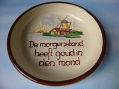 Vintage Dutch Plate Vlieg-Uut Soest - The Early Bird Gets the Worm