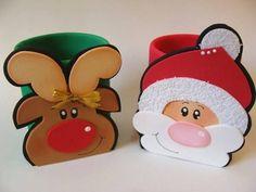 Porta doces em E.V.A. tema Natal com moldes  Foami, Microporoso, Goma Eva,  DIY, Paso a Paso, passo a passo, pap, riscos, moldes, E.V.A...