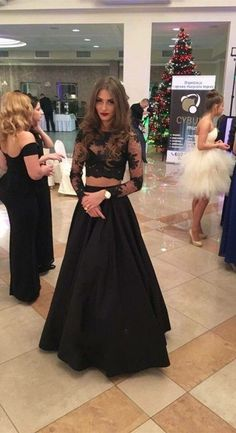 Two Piece A-line Floor-Length Lace Long Sleeves Black Prom Dress, 2 Piece Prom Dress 2016, Black Long Sleevs Prom Dress, Evening Dress by DRESS, $167.00 USD